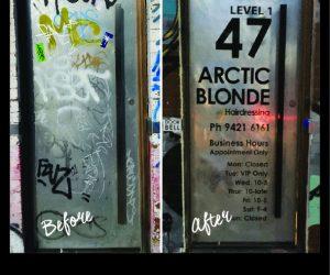 Arctic Blonde door graphic factory building - Copy