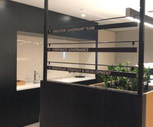 BHP Tea Room veneer panel directional sign office