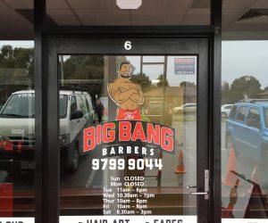 Big Bang Barbers Trading Hours contour cut vinyl