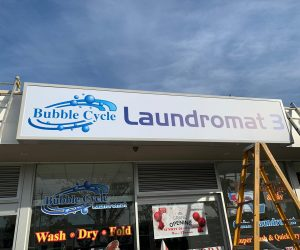 Bubble Cycle Laundromat lightbox _ window graphics