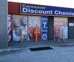Caresaver Discount Chemist window graphics _ banner light box