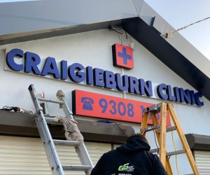 Craigieburn Clinic 3D illuminated letters front lit with coloured translucent vinyl applied