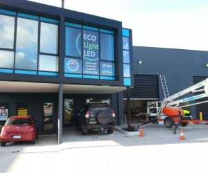 Eco light AFTER window graphics digital print factory building signage 2