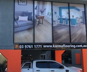 Karma Flooring building factory signage window graphics and ACM signage - Copy