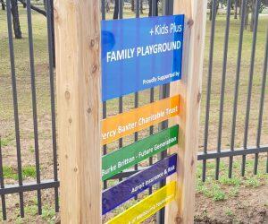 Kids Plus wood and acrylic pylon, free standing sign 3