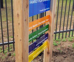 Kids Plus wood and acrylic pylon, free standing sign 5