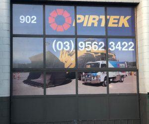 Pirtek Springvale one-way vision window graphics 2