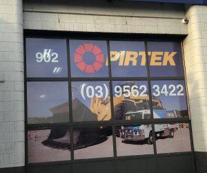Pirtek factory building signage router cut ACM one way vision vinyl _ trading hours 1
