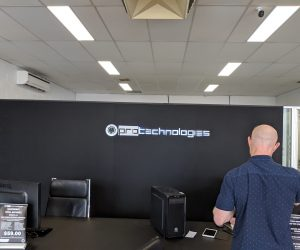 Protechnologies 3D Halo Lit illuminated sign Reception 3