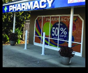 Rainbow Pharmacy 3D Illuminated building signage _ window graphics _ neon OPEN sign