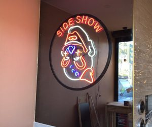 Sideshow Burgers LED Neon clown installed 2